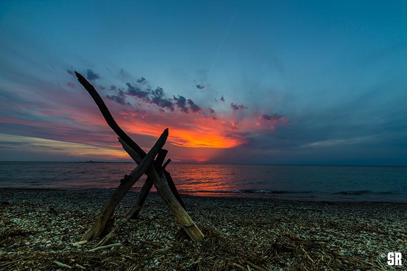 bonfire sunset photo of chantry island on lake huron