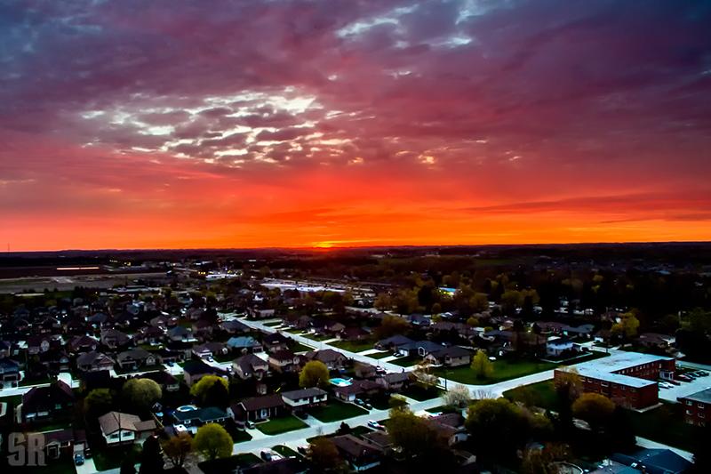 Aerial Drone Capture of Spring Sunrise over Port Elgin Ontario