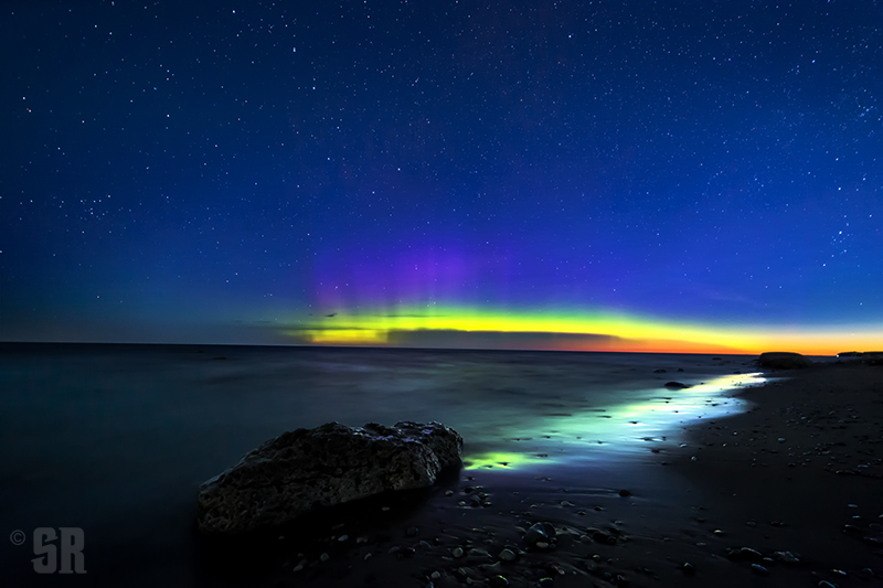 Electric Dawn - Early Morning Northern Lights and Sunrise over Lake Huron