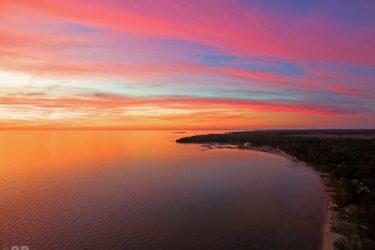 Aerial Sunset over Lake Huron & Port Elgin Marina & Chantry Island Wall Art Print