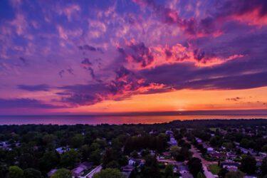 Aerial photo of Lake Huron Sunset over Port Elgin Ontario