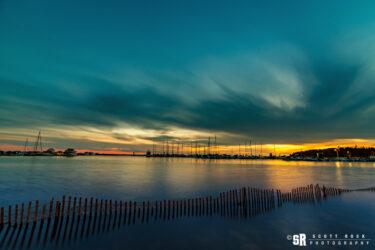 harbour fences sunset over port elgin marina on lake huron