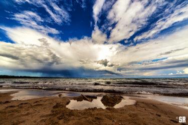 Isolated Storm Over Lake Huron near Bruce Peninsula Ontario Fine Art Wall Print