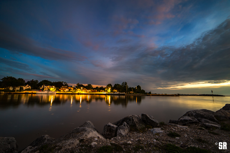 Lake Huron Evening Twilight with Southampton Ontario Harbour on Saugeen River Fine Art Wall Print