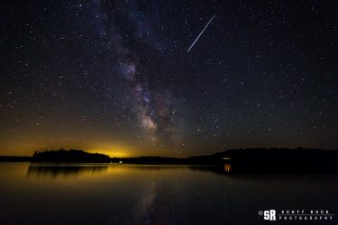 Milky Way & Meteor on Otter Lake Near Parry Sound Ontario Located On Georgian Bay