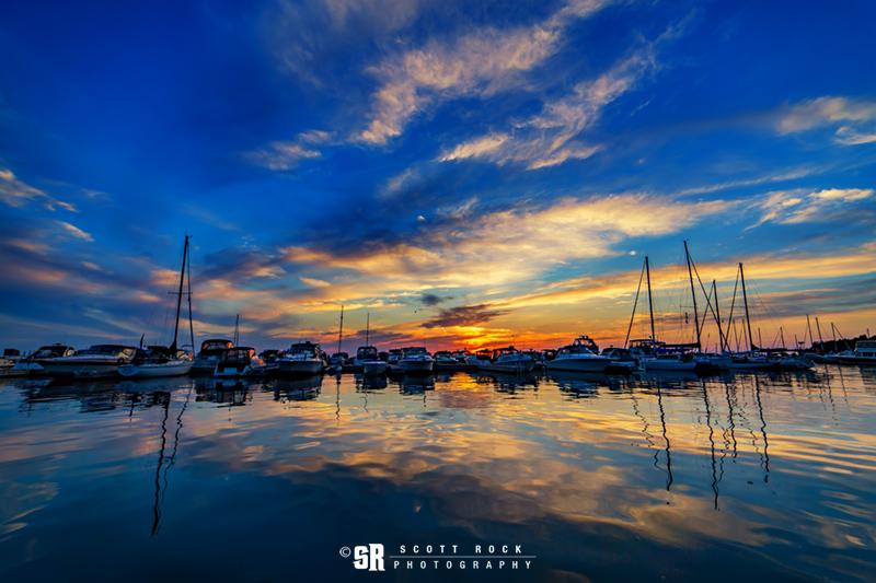 Summer Sunset Over Port Elgin Marina, Ontario on Lake Huron Near Bruce Peninsula