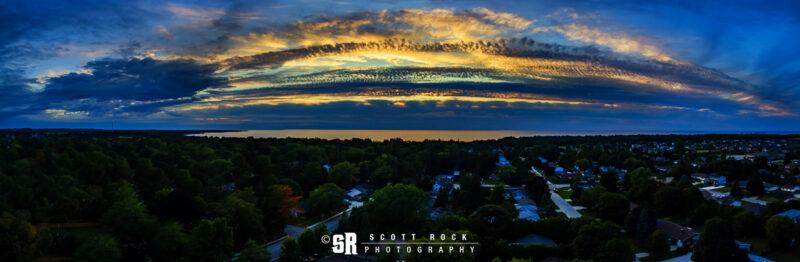 Pano aerial photo over port elgin ontario storm sunset art