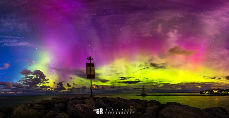 Photo of Solar Storm Northern Lights over Lake Huron & Saugeen River seen from Southampton Ontario Near Bruce Peninsula Wall Print