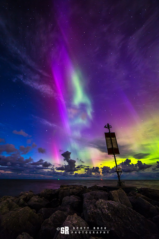 Northern Lights over Lake Huron Saugeen & River in South