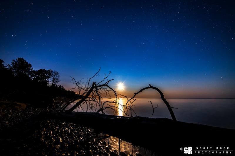 Photo of Moon over Lake Huron From Southampton Ontario