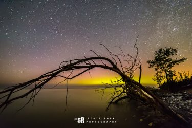 Northern Lights over Lake Huron Near Bruce Peninsula