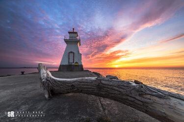 Southampton Ontario Lighthouse Sunset over Lake Huron Photo