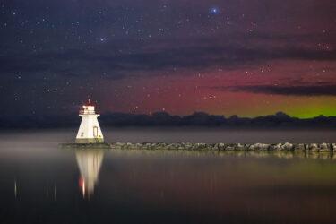 Northern Lights & Fog over Saugeen River, Lake Huron and Range Lighthouse - Southampton, Ontario Canada