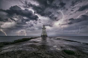 Lightning storm over Lake Huron Range Lighthouse Southampton, Ontario