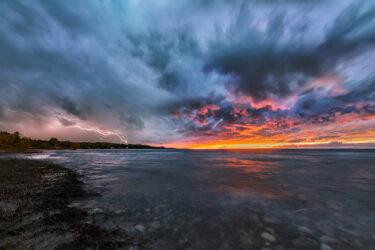 Sunset Lightning Lake Huron Near Bruce Peninsula