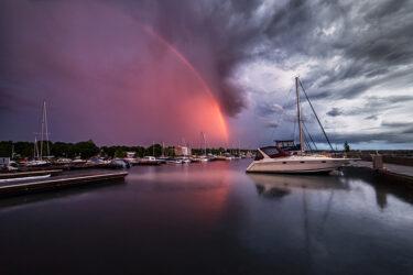 Port Elgin Harbour PEYC Rainbow Storm Sunset