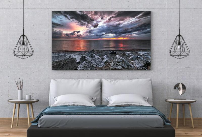 Sunset on Lake Huron Rocks in Port Elgin Ontario Interior Wall Art