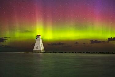 Northern Lights Over Lighthouse Bruce Peninsula