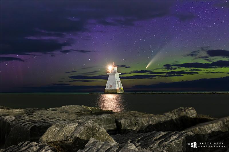 Northern Lights Lake Huron Lighthouse